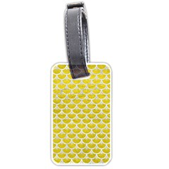 Scales3 White Marble & Yellow Leather Luggage Tags (one Side)  by trendistuff