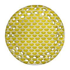 Scales3 White Marble & Yellow Leather Ornament (round Filigree) by trendistuff