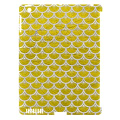 Scales3 White Marble & Yellow Leather Apple Ipad 3/4 Hardshell Case (compatible With Smart Cover) by trendistuff