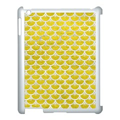 Scales3 White Marble & Yellow Leather Apple Ipad 3/4 Case (white) by trendistuff