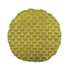 Scales3 White Marble & Yellow Leather Standard 15  Premium Round Cushions by trendistuff