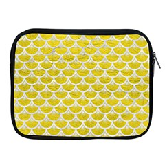 Scales3 White Marble & Yellow Leather Apple Ipad 2/3/4 Zipper Cases by trendistuff