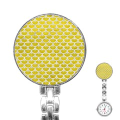 Scales3 White Marble & Yellow Leather Stainless Steel Nurses Watch by trendistuff