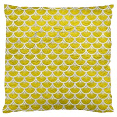 Scales3 White Marble & Yellow Leather Standard Flano Cushion Case (one Side) by trendistuff