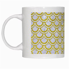 Scales2 White Marble & Yellow Leather (r) White Mugs by trendistuff