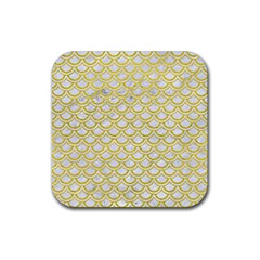 Scales2 White Marble & Yellow Leather (r) Rubber Square Coaster (4 Pack)  by trendistuff