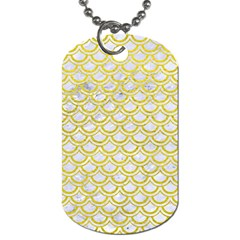 Scales2 White Marble & Yellow Leather (r) Dog Tag (two Sides) by trendistuff