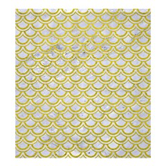 Scales2 White Marble & Yellow Leather (r) Shower Curtain 66  X 72  (large)  by trendistuff