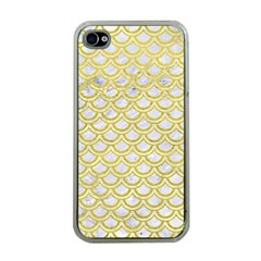 Scales2 White Marble & Yellow Leather (r) Apple Iphone 4 Case (clear) by trendistuff