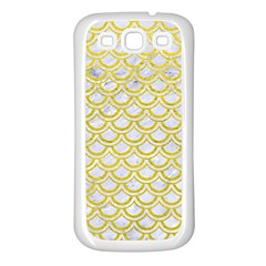 Scales2 White Marble & Yellow Leather (r) Samsung Galaxy S3 Back Case (white)