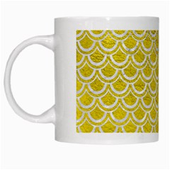 Scales2 White Marble & Yellow Leather White Mugs by trendistuff