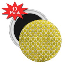Scales2 White Marble & Yellow Leather 2 25  Magnets (10 Pack)  by trendistuff