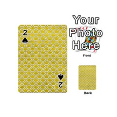 Scales2 White Marble & Yellow Leather Playing Cards 54 (mini)  by trendistuff