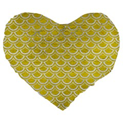 Scales2 White Marble & Yellow Leather Large 19  Premium Heart Shape Cushions by trendistuff