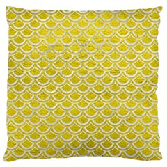 Scales2 White Marble & Yellow Leather Large Flano Cushion Case (two Sides) by trendistuff