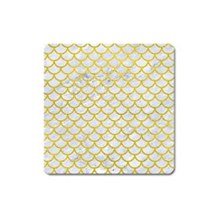 Scales1 White Marble & Yellow Leather (r) Square Magnet by trendistuff