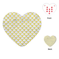 Scales1 White Marble & Yellow Leather (r) Playing Cards (heart)  by trendistuff