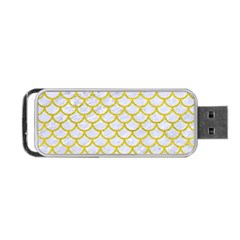 Scales1 White Marble & Yellow Leather (r) Portable Usb Flash (one Side) by trendistuff