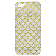 Scales1 White Marble & Yellow Leather (r) Apple Iphone 5 Hardshell Case by trendistuff