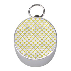 Scales1 White Marble & Yellow Leather (r) Mini Silver Compasses by trendistuff