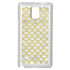 Scales1 White Marble & Yellow Leather (r) Samsung Galaxy Note 4 Case (white) by trendistuff