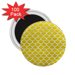 Scales1 White Marble & Yellow Leather 2 25  Magnets (100 Pack)  by trendistuff