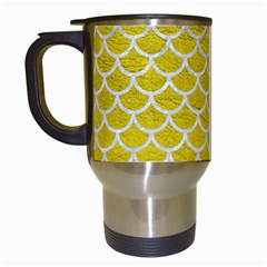 Scales1 White Marble & Yellow Leather Travel Mugs (white) by trendistuff