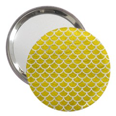 Scales1 White Marble & Yellow Leather 3  Handbag Mirrors
