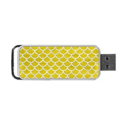 Scales1 White Marble & Yellow Leather Portable Usb Flash (one Side) by trendistuff