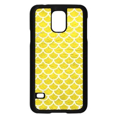 Scales1 White Marble & Yellow Leather Samsung Galaxy S5 Case (black) by trendistuff
