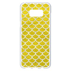 Scales1 White Marble & Yellow Leather Samsung Galaxy S8 Plus White Seamless Case by trendistuff