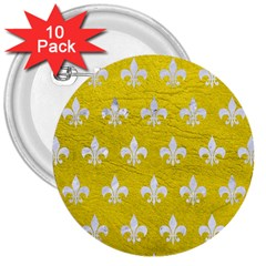 Royal1 White Marble & Yellow Leather (r) 3  Buttons (10 Pack)  by trendistuff