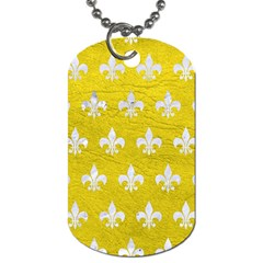 Royal1 White Marble & Yellow Leather (r) Dog Tag (one Side) by trendistuff