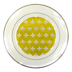Royal1 White Marble & Yellow Leather (r) Porcelain Plates by trendistuff