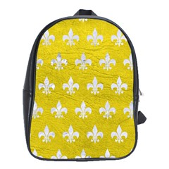 Royal1 White Marble & Yellow Leather (r) School Bag (xl) by trendistuff