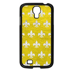 Royal1 White Marble & Yellow Leather (r) Samsung Galaxy S4 I9500/ I9505 Case (black) by trendistuff