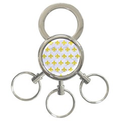 Royal1 White Marble & Yellow Leather 3 Ring Key Chains by trendistuff