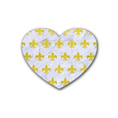 Royal1 White Marble & Yellow Leather Heart Coaster (4 Pack)  by trendistuff