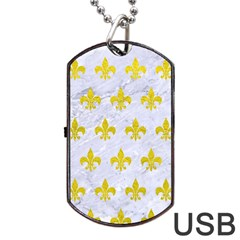 Royal1 White Marble & Yellow Leather Dog Tag Usb Flash (one Side) by trendistuff