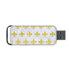 Royal1 White Marble & Yellow Leather Portable Usb Flash (one Side) by trendistuff