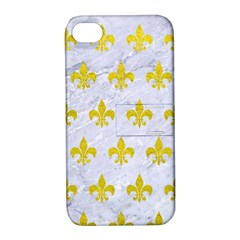 Royal1 White Marble & Yellow Leather Apple Iphone 4/4s Hardshell Case With Stand by trendistuff