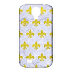 Royal1 White Marble & Yellow Leather Samsung Galaxy S4 Classic Hardshell Case (pc+silicone) by trendistuff