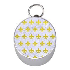 Royal1 White Marble & Yellow Leather Mini Silver Compasses by trendistuff