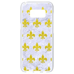 Royal1 White Marble & Yellow Leather Samsung Galaxy S8 White Seamless Case by trendistuff