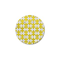 Puzzle1 White Marble & Yellow Leather Golf Ball Marker