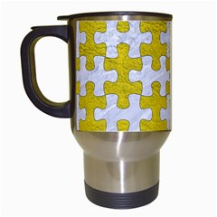 Puzzle1 White Marble & Yellow Leather Travel Mugs (white) by trendistuff