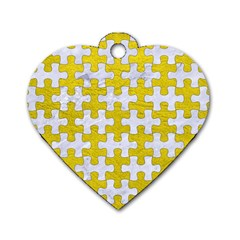 Puzzle1 White Marble & Yellow Leather Dog Tag Heart (one Side) by trendistuff