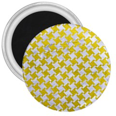 Houndstooth2 White Marble & Yellow Leather 3  Magnets by trendistuff