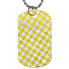 Houndstooth2 White Marble & Yellow Leather Dog Tag (two Sides) by trendistuff