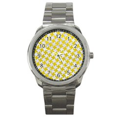 Houndstooth2 White Marble & Yellow Leather Sport Metal Watch by trendistuff